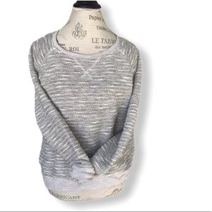 AEO Light Grey White and Silver Crewneck Sweater